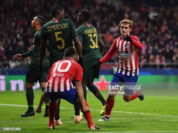 Antoine Griezmann of Atletico Madrid celebrates after scoring his team's second goal during the UEFA Champions League Group A match between Club...