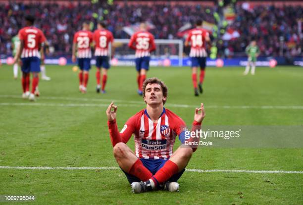 Antoine Griezmann of Atletico Madrid celebrates after scoring his team's second goal during the La Liga match between Club Atletico de Madrid and...