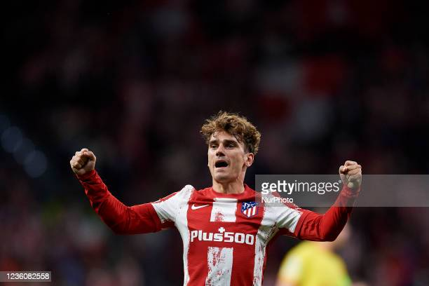 Antoine Griezmann of Atletico Madrid celebrates after scoring his sides first goal during the UEFA Champions League group B match between Atletico...