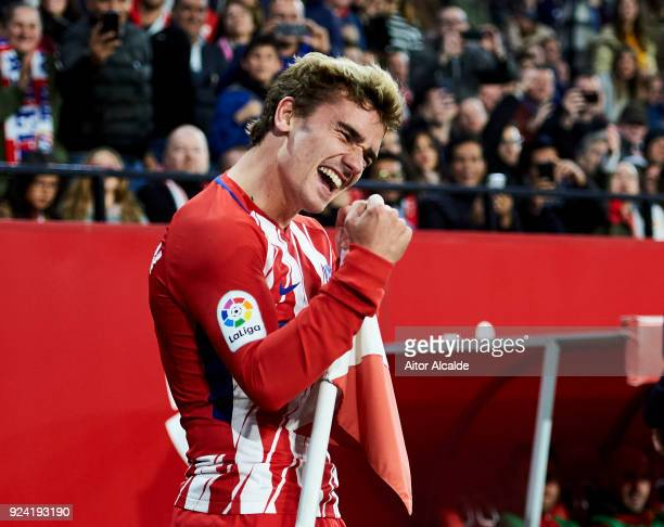 Antoine Griezmann of Atletico Madrid celebrates after scoring his team's second goal during the La Liga match between Sevilla CF and Atletico Madrid...