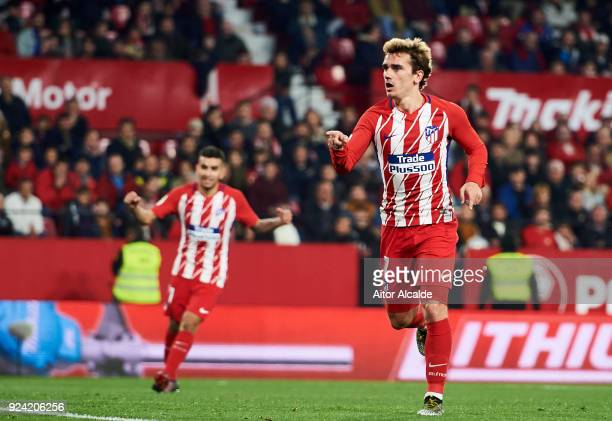 Antoine Griezmann of Atletico Madrid celebrates after scoring his team's fifth goal during the La Liga match between Sevilla CF and Atletico Madrid...