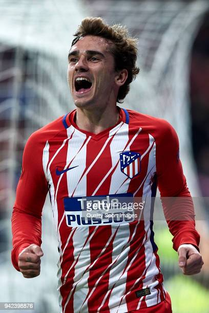 Antoine Griezmann of Atletico Madrid celebrates after scoring his team's second goal during the UEFA Europa League quarter final leg one match...
