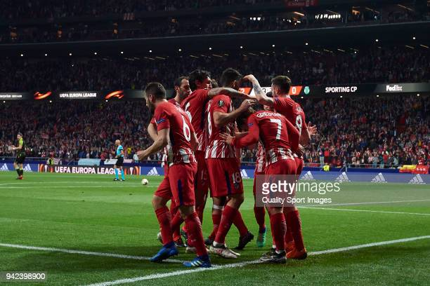 Antoine Griezmann of Atletico Madrid celebrates after scoring his team's second goal with his teammates during the UEFA Europa League quarter final...