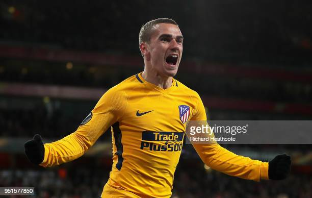 Antoine Griezmann of Atletico Madrid celebrates after scoring his sides first goal during the UEFA Europa League Semi Final leg one match between...