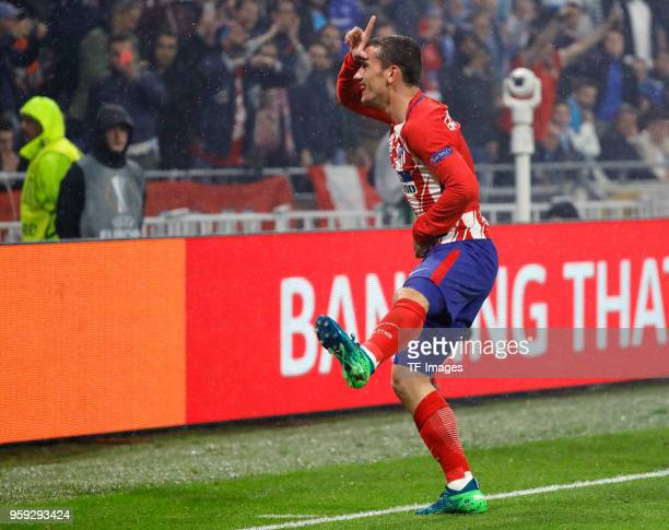 Antoine Griezmann of Atletico Madrid celebrates after scoring his team`s second goal during the UEFA Europa League Final between Olympique de...