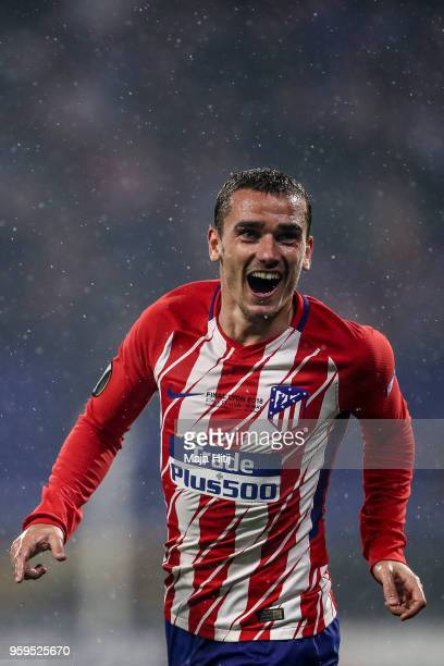 Antoine Griezmann of Atletico Madrid celebrates after scoring his team's second goal of the game during the UEFA Europa League Final between...