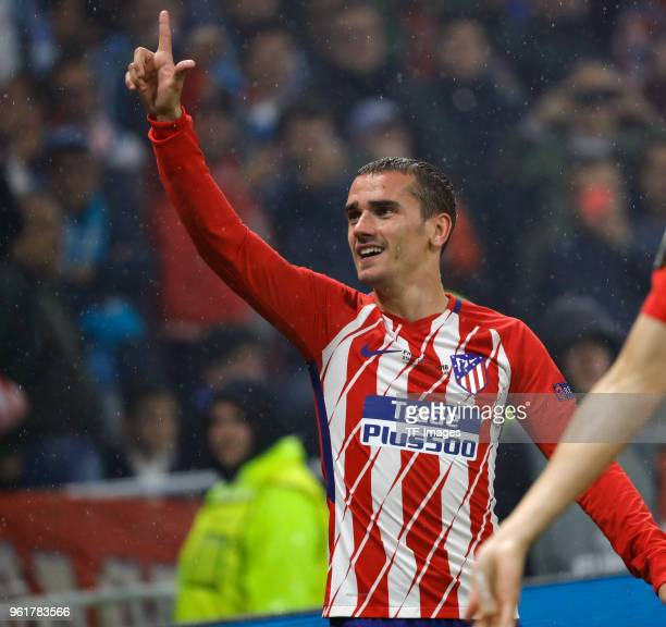 Antoine Griezmann of Atletico Madrid celebrates after scoring his team's second goal during the UEFA Europa League Final between Olympique de...