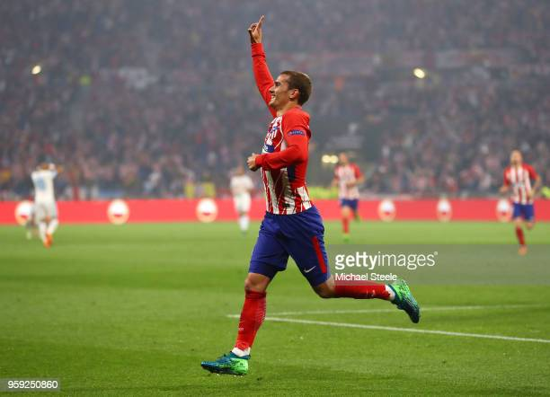 Antoine Griezmann of Atletico Madrid celebrates after scoring the opening goal of the game during the UEFA Europa League Final between Olympique de...