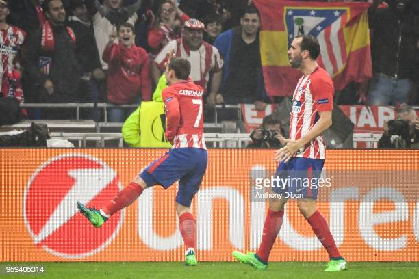 Antoine Griezmann of Atletico Madrid Celebrates his goal during the Europa League Final match between Marseille and Atletico Madrid at Groupama...