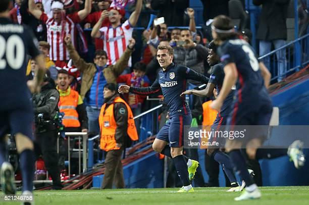 Antoine Griezmann of Atletico Madrid celebrates his second goal during the UEFA Champions League quarter final second leg match between Atletico...