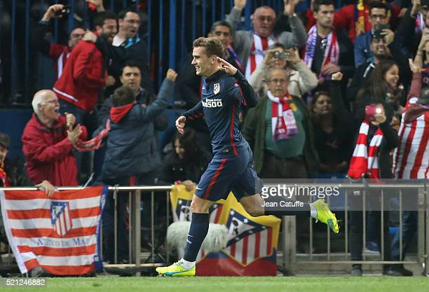 Antoine Griezmann of Atletico Madrid celebrates his second goal during the UEFA Champions League quarter final second leg match between Atletico...