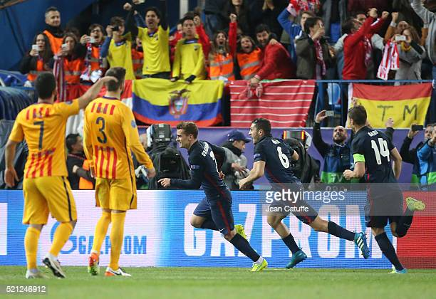 Antoine Griezmann of Atletico Madrid celebrates his second goal with Koke during the UEFA Champions League quarter final second leg match between...