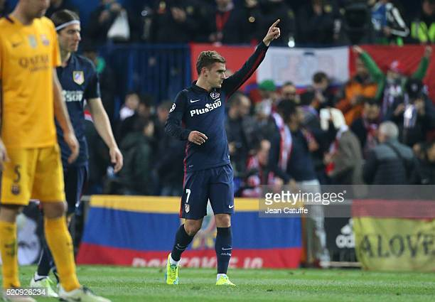 Antoine Griezmann of Atletico Madrid celebrates his team's first goal during the UEFA Champions League quarter final second leg match between...