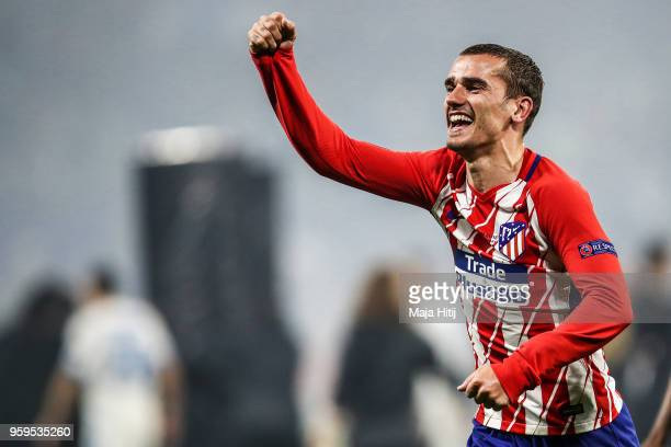 Antoine Griezmann of Atletico Madrid celebrates his team's victory in the UEFA Europa League Final between Olympique de Marseille and Club Atletico...