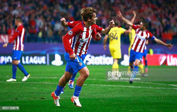 Antoine Griezmann of Atletico Madrid celebrates scoring his sides second goal during the UEFA Champions League Group D match between Club Atletico de...