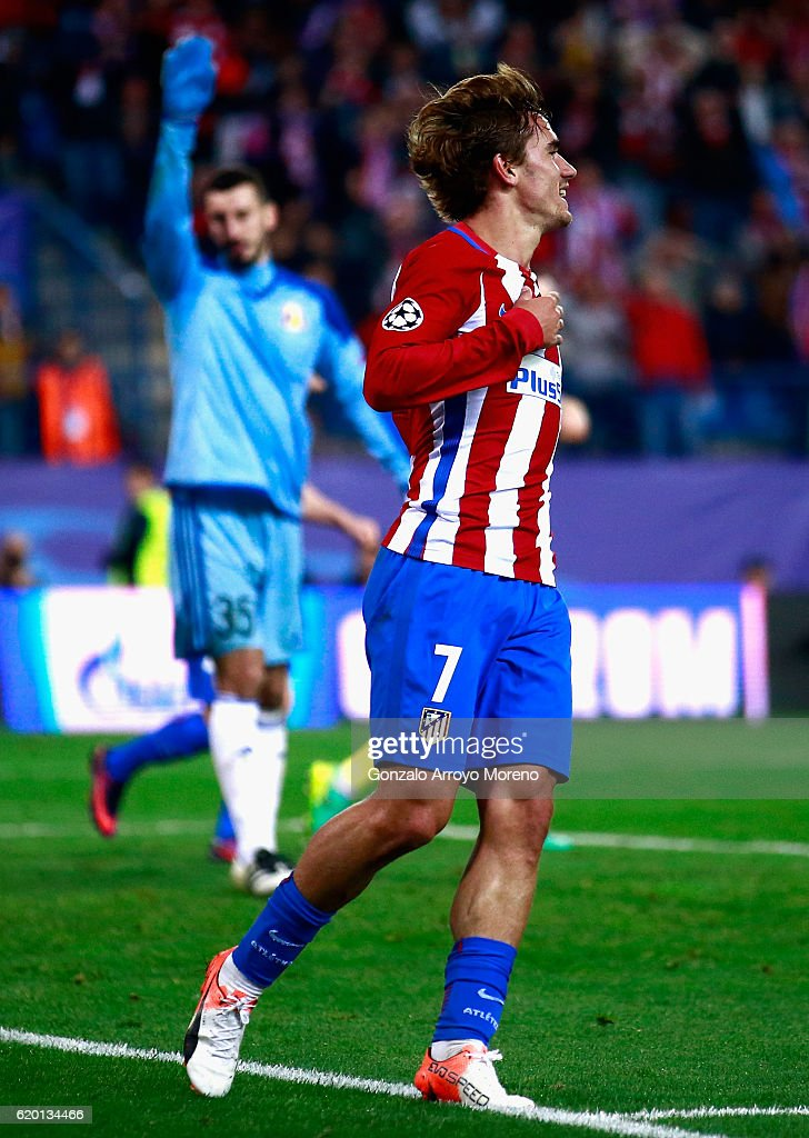 Antoine Griezmann of Atletico Madrid celebrates scoring his sides second goal during the UEFA Champions League Group D match between Club Atletico de Madrid and FC Rostov at Vincente Calderon on November 1, 2016 in Madrid, Spain.