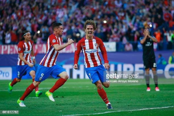 Antoine Griezmann of Atletico Madrid celebrates scoring his team's second goal during the UEFA Champions League Semi Final second leg match between...