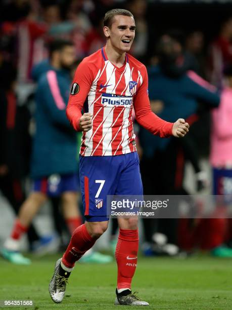 Antoine Griezmann of Atletico Madrid celebrates the victory during the UEFA Europa League match between Atletico Madrid v Arsenal at the Estadio...