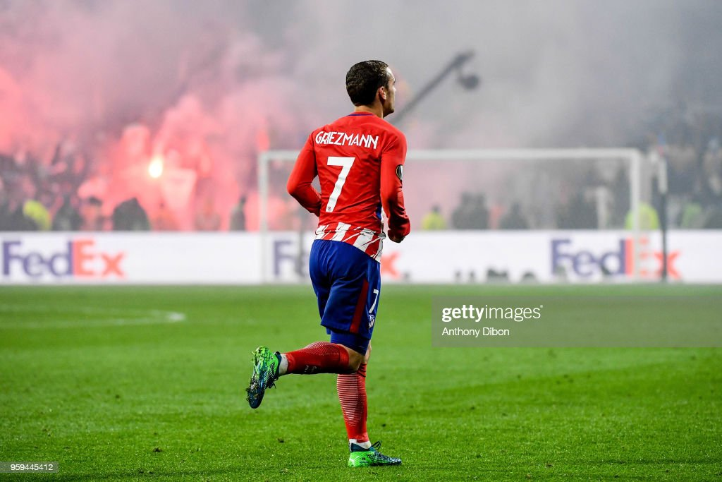 Antoine Griezmann of Atletico Madrid celebrates the victory during the Europa League Final match between Marseille and Atletico Madrid at Groupama Stadium on May 16, 2018 in Lyon, France.