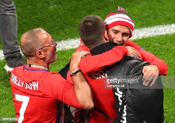Antoine Griezmann of Atletico Madrid celebrates with his family following the UEFA Europa League Final between Olympique de Marseille and Club...