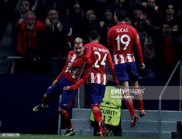Antoine Griezmann of Atletico Madrid celebrates with his teammates after scoring a goal during UEFA Champions League Group C soccer match between...