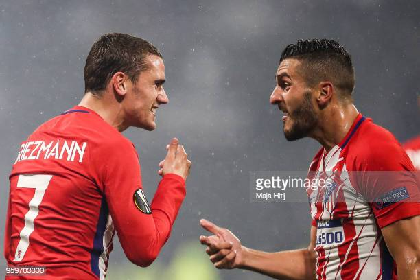 Antoine Griezmann of Atletico Madrid celebrates with Koke of Atlético Madrid after scoring his team's second goal of the game during the UEFA Europa...