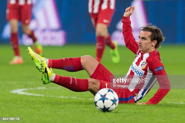 Antoine Griezmann of Atletico Madrid controls the ball during the UEFA Champions League Round of 16 first leg match between Bayer Leverkusen and Club...