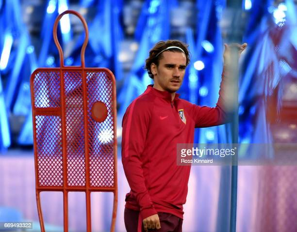 Antoine Griezmann of Atletico Madrid during a training session at The King Power Stadium on April 17 2017 in Leicester England