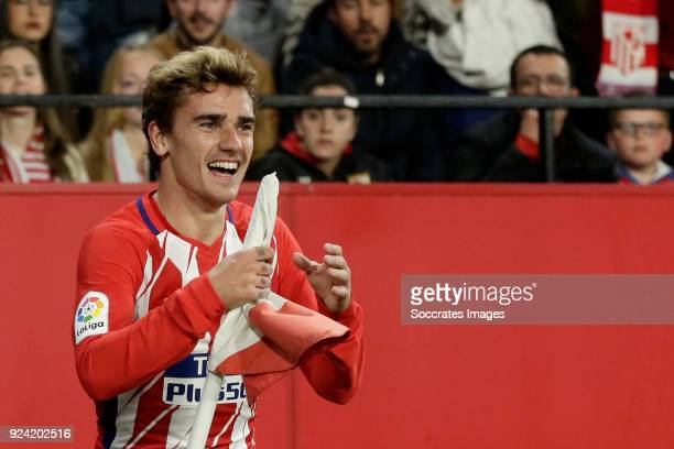 Antoine Griezmann of Atletico Madrid during the La Liga Santander match between Sevilla v Atletico Madrid at the Estadio Ramon Sanchez Pizjuan on...