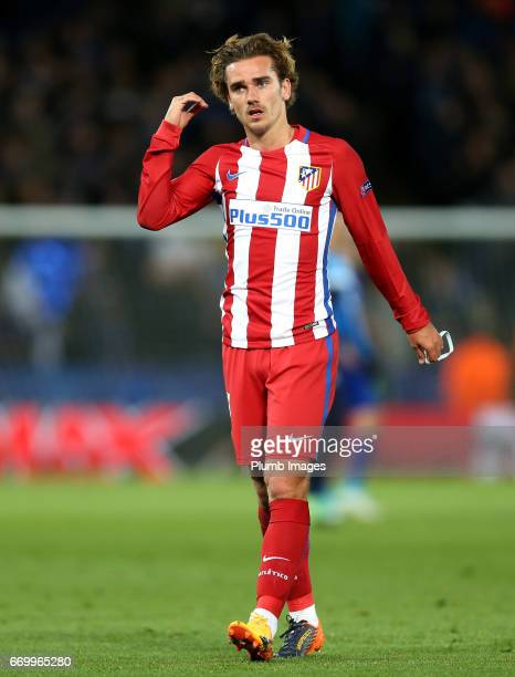 Antoine Griezmann of Atletico Madrid during the UEFA Champions League Quarter Final Second Leg match between Leicester City and Club Atletico de...