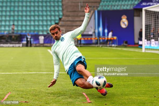 Antoine Griezmann of Atletico Madrid in action during a training session ahead of the UEFA Super Cup at A Le Coq Arena on August 14 2018 in Tallinn...