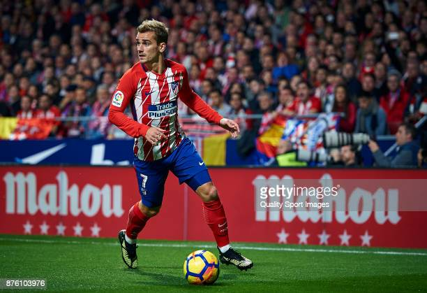 Antoine Griezmann of Atletico Madrid in action during the La Liga match between Atletico Madrid and Real Madrid at Wanda Metropolitano Stadium on...