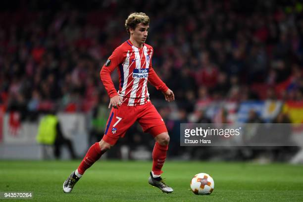 Antoine Griezmann of Atletico Madrid in action during the UEFA Europa League quarter final leg one match between Atletico Madrid and Sporting CP at...