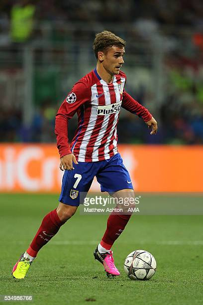 Antoine Griezmann of Atletico Madrid in action during the UEFA Champions League final match between Real Madrid and Club Atletico de Madrid at Stadio...