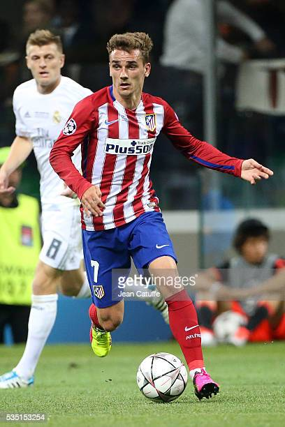 Antoine Griezmann of Atletico Madrid in action during the UEFA Champions League final between Real Madrid and Club Atletico Madrid at Stadio Giuseppe...