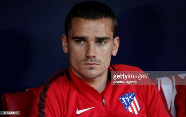 Antoine Griezmann of Atletico Madrid is seen at bench during the La Liga match between Atletico Madrid and Espanyol at Wanda Metropolitano Stadium on...