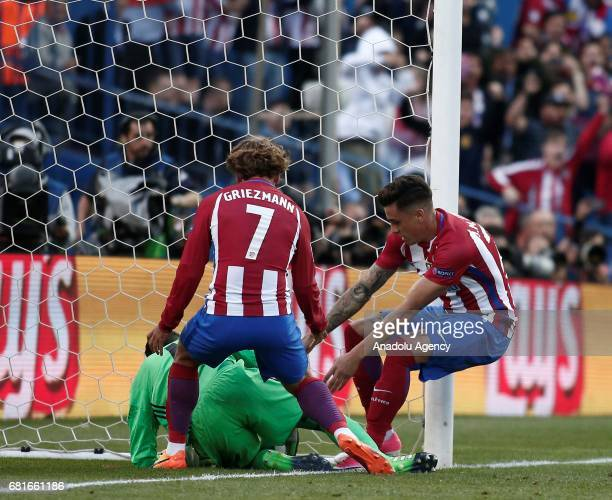 Antoine Griezmann of Atletico Madrid is seen during the UEFA Champions League semi final second leg match between Atletico Madrid and Real Madrid at...