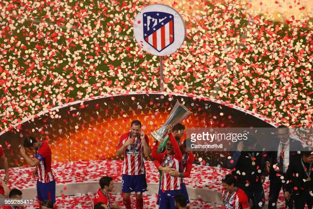 Antoine Griezmann of Atletico Madrid lifts The Europa League trophy after the UEFA Europa League Final between Olympique de Marseille and Club...