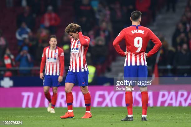 Antoine Griezmann of Atletico Madrid looks dejected after Girona's third goal during the Copa del Rey Round of 16 match between Atletico Madrid and...