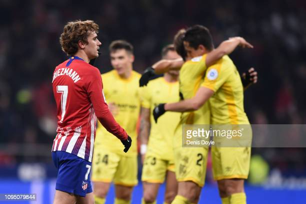 Antoine Griezmann of Atletico Madrid looks dejected after the Copa del Rey Round of 16 match between Atletico Madrid and Girona at Wanda...