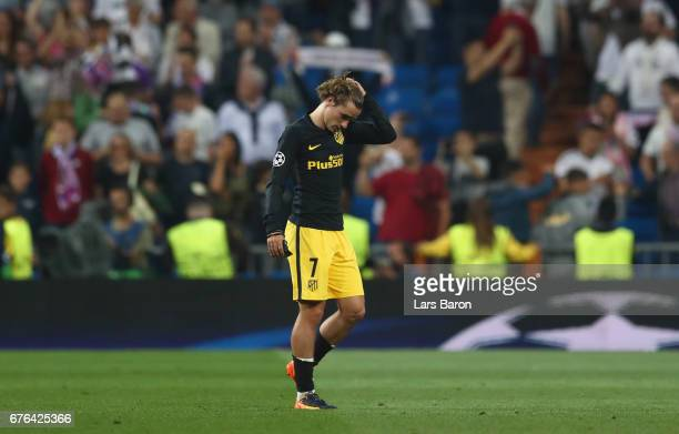 Antoine Griezmann of Atletico Madrid looks dejected in defeat after the UEFA Champions League semi final first leg match between Real Madrid CF and...