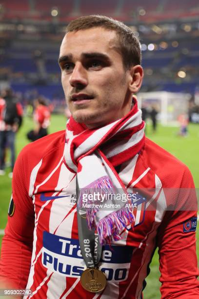 Antoine Griezmann of Atletico Madrid looks on at the end of the UEFA Europa League Final between Olympique de Marseille and Club Atletico de Madrid...