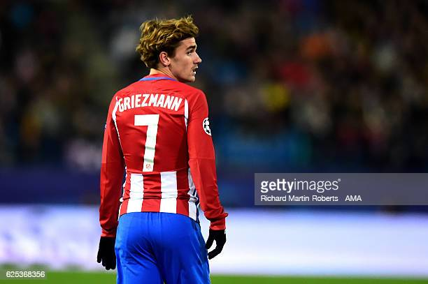 Antoine Griezmann of Atletico Madrid looks on during the UEFA Champions League match between Club Atletico de Madrid and PSV Eindhoven at Vicente...