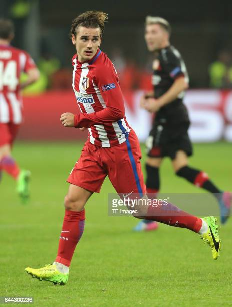 Antoine Griezmann of Atletico Madrid looks on during the UEFA Champions League Round of 16 first leg match between Bayer Leverkusen and Club Atletico...