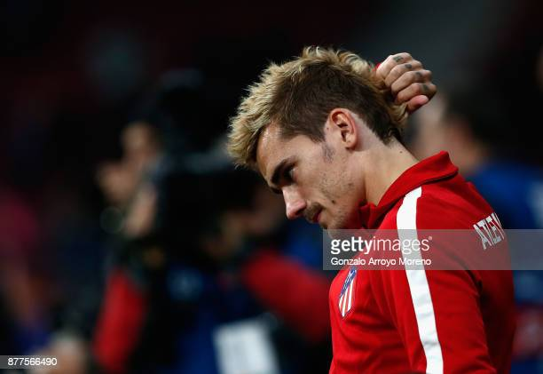 Antoine Griezmann of Atletico Madrid looks on during the UEFA Champions League group C match between Atletico Madrid and AS Roma at Wanda...