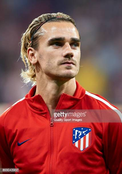Antoine Griezmann of Atletico Madrid looks on prior the UEFA Champions League group C match between Atletico Madrid and Chelsea FC at Wanda...
