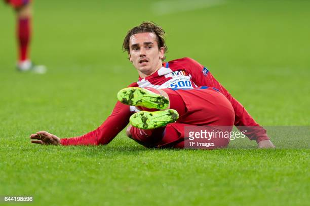Antoine Griezmann of Atletico Madrid on the ground during the UEFA Champions League Round of 16 first leg match between Bayer Leverkusen and Club...