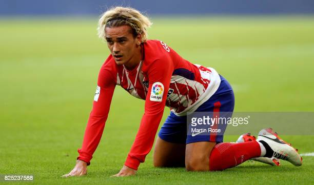 Antoine Griezmann of Atletico Madrid reacts during the Audi Cup 2017 match between Club Atletico de Madrid and SSC Napoli at Allianz Arena on August...