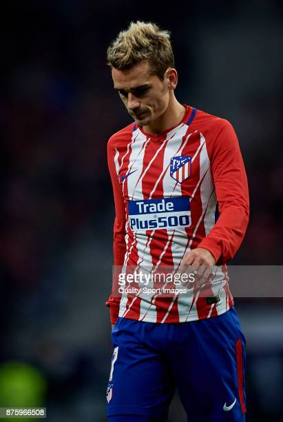 Antoine Griezmann of Atletico Madrid reacts during the La Liga match between Atletico Madrid and Real Madrid at Wanda Metropolitano Stadium on...