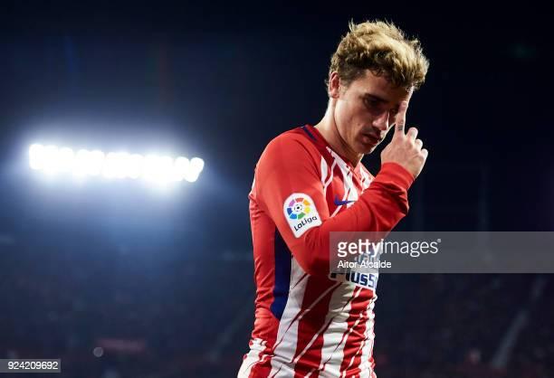 Antoine Griezmann of Atletico Madrid reacts during the La Liga match between Sevilla CF and Atletico Madrid at Estadio Ramon Sanchez Pizjuan on...